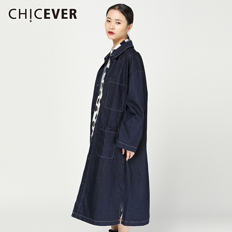 CHICEVER Autumn Denim Coat For Women s Windbreakers Lapel Long Sleeve Single Breasted Trench Female Fashion