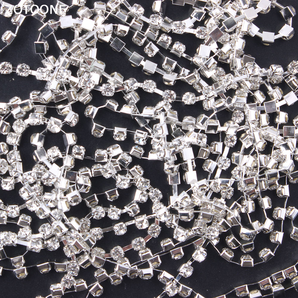 ZOTOONE 1Yard Silver Motif Rhinestones for Clothes Strass Claw Chain Rhinestone Trim Glue DIY Nails Stickers Sewing Accessories