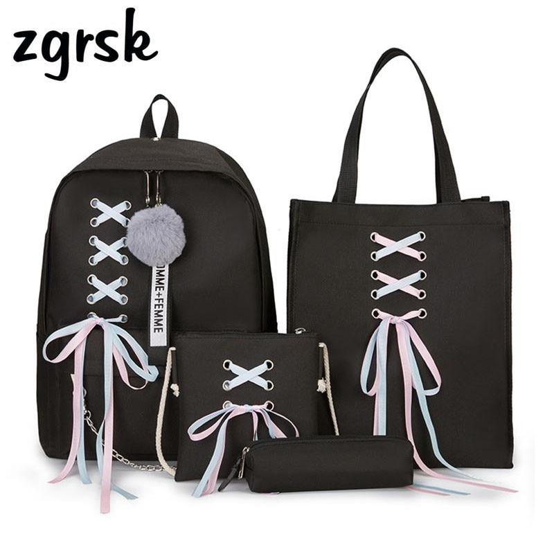 9fbf14ec02c2 US $16.82 49% OFF|4 Pcs Set Fashion Backpack Women Leisure Back Pack Japan  Ladies Knapsack Casual Women Teenage Girls Classic Bagpack School Bags-in  ...