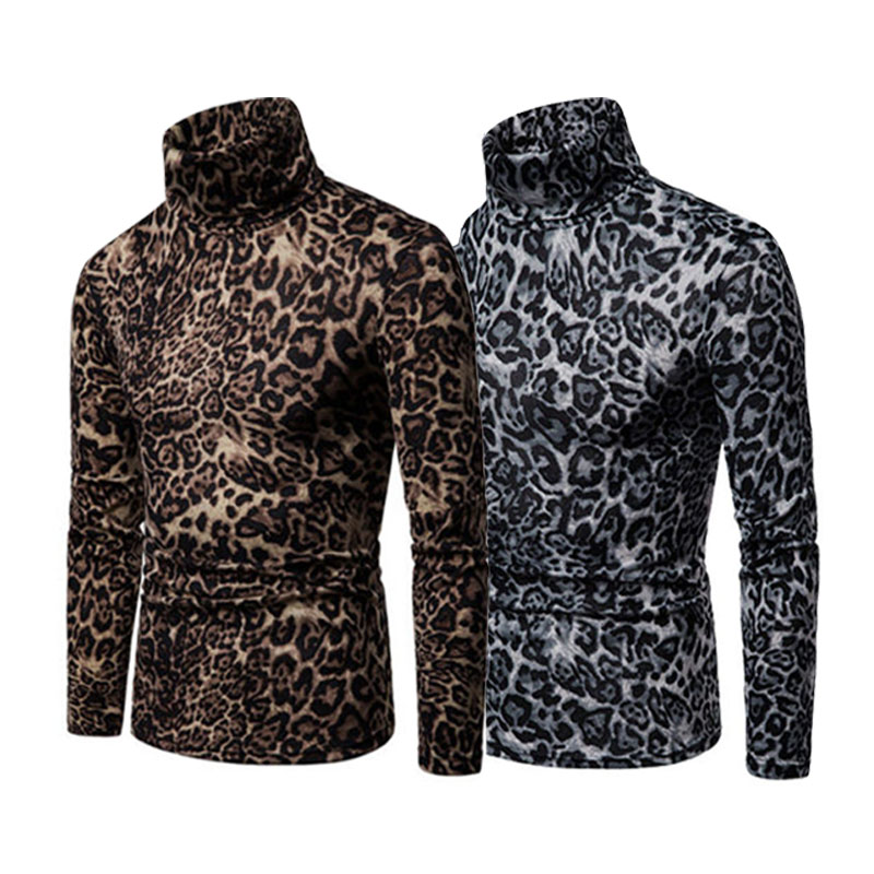 Drop Shipping Meihuida Men Turtleneck Jumper Leopard Print   Polo   Shirts Fashion Comfort Male Pullover Knitted   Polo   Roll Neck Knit