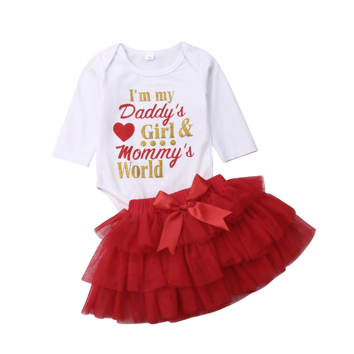 Infant Baby Girls Christmas Letter Print Romper Jumpsuit+Print Skirts Outfits