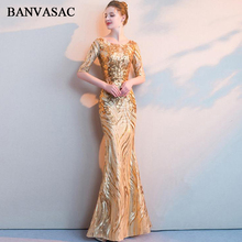 BANVASAC 2018 Illusion O Neck Sequined Mermaid Long Evening Dresses Lace Half Sleeve Zipper Back Party Prom Gowns