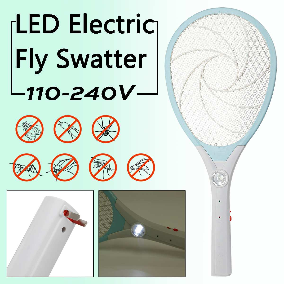 Electric Tennis Bat Handheld LED Bug Zapper Racket Home Garden Mosquito Fly Insect Bug Wasp Swatter Killer Insects RechargeableElectric Tennis Bat Handheld LED Bug Zapper Racket Home Garden Mosquito Fly Insect Bug Wasp Swatter Killer Insects Rechargeable