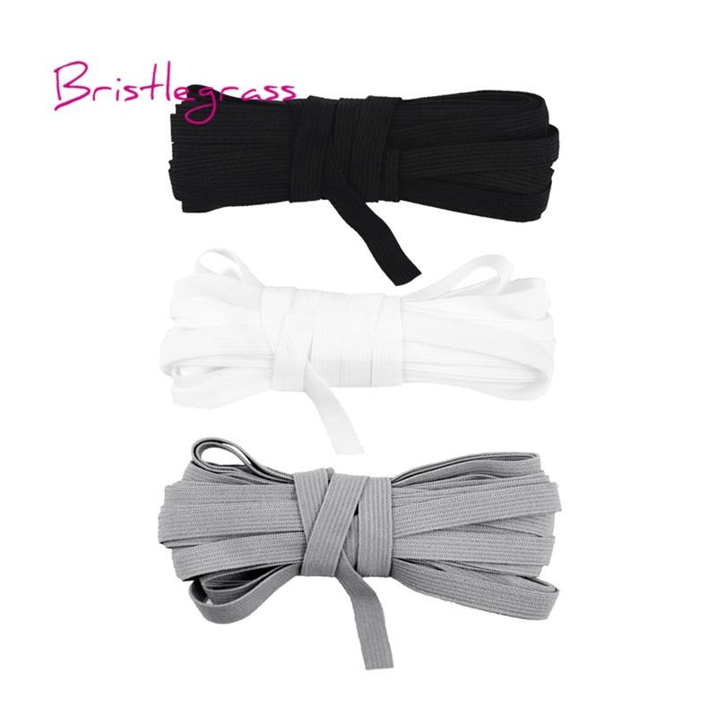 BRISTLEGRASS 5 Yard 7mm Knitting Solid Skinny Elastic Spandex Satin Band Kid Hairband Headband Tie Dress Lace Trim DIY Sewing