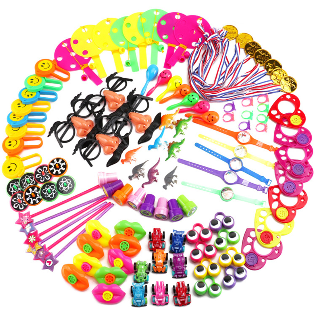 120Pcs Children Birthday Kid's Party Prizes Assorted Small Toys Set Mustache Glasses Magic Mask Medal Star Cartoon Hats
