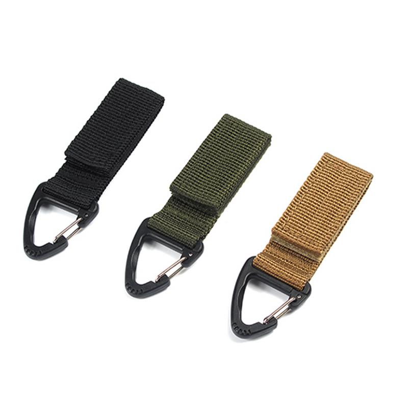 Outdoor Camping Hiking Molle Tactical Nylon Ribbon Knapsack Keychain Triangle Backpack Waist Bag Fastener Hook D Shaped Buckle