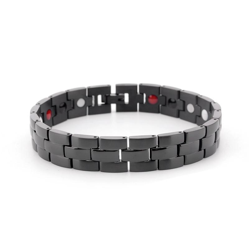 Men's Titanium Steel Bracelet Double Strength Magnetic Therapy Health Care For Arthritis Pain Relief Adjustable Wristband
