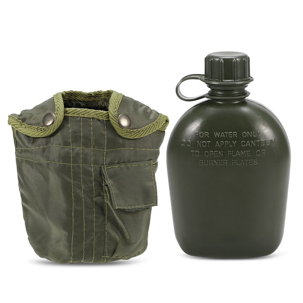 Camping Water Bag Outdoor Military Canteen Bottle Camping Hiking Backpacking Survival Water Bottle Kettle with Cover