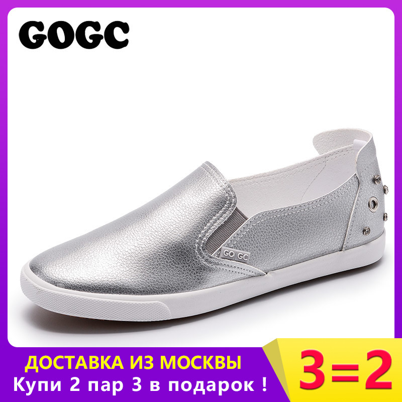 GOGC Brand Studs & Crystal Flat Shoes Wanita Soft Design Shoes Women - Kasut wanita