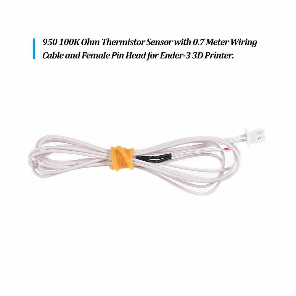 Criatividade 3D NTC 3950 100 K Ohm Termistor Sensor com 0.7 Metros de Fiação Cale e Feminino Cabeça de Alfinete para Ender-3 3D Impressora