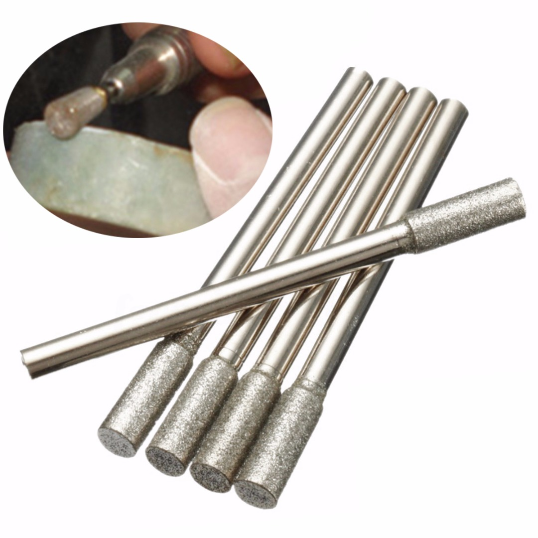 5pcs/set  New Diamond Grinding Burr Drill Bits 4mm Grinding Diameter For Rotary Tool