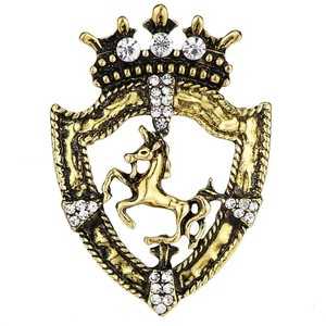 Image 4 - 10pcs Vintage Shield Horse Brooch Gold Silver Ancient Male Suit Rhinestone Badges Clothes Browband decoration Pin Accessories