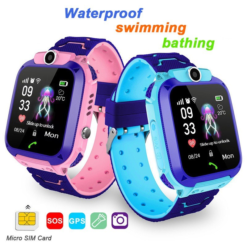 Children Tracker Watch Camera Waterproof IOS Android Multifunction Digital Wristwatch Kids Birthday Gift Q12