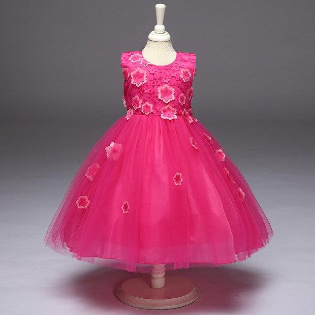 L8805 Wholesale 2017 New Fashion summer girls  Dress Gauze Handmade Flower Princess Dress