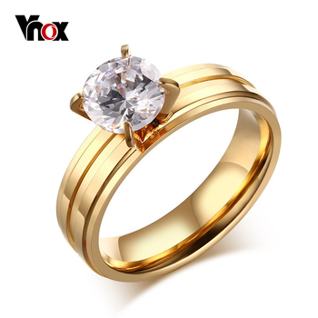 88f5de43782b Anillo de Compromiso Vnox para Mujer de Acero Inoxidable de Color Oro  Joyería Promesa de Piedra Grande