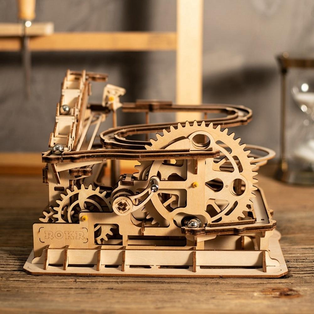 Robotime Drôle Marble Run Jeu bricolage Roue Hydraulique Coaster modèle en bois Kits de Construction jouet assemblage Meilleur De Noël, cadeau d'anniversaire - 2