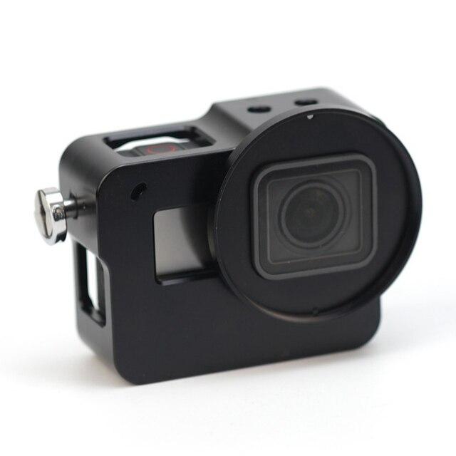 TIRO (Preto) 52 m UV com Filtro para GoPro Caso de Habitação de Alumínio CNC Quadro para GoPro Hero Caso 5