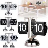 2 PCS Flip Clock Retro Scale Digital Stand Auto Flip Desk Table Clock Flip Internal Gear Operated Quartz Clock