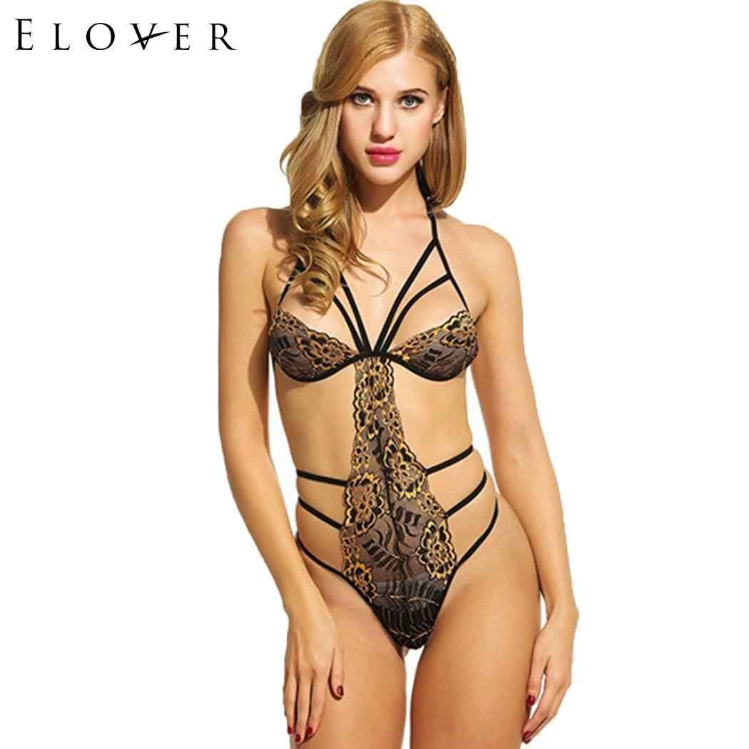 4900f493d6b3 Elover Halter Sexy Lingerie Hot Erotic Bodysuit Underwear Floral through Red  V-Neck Rose Lace