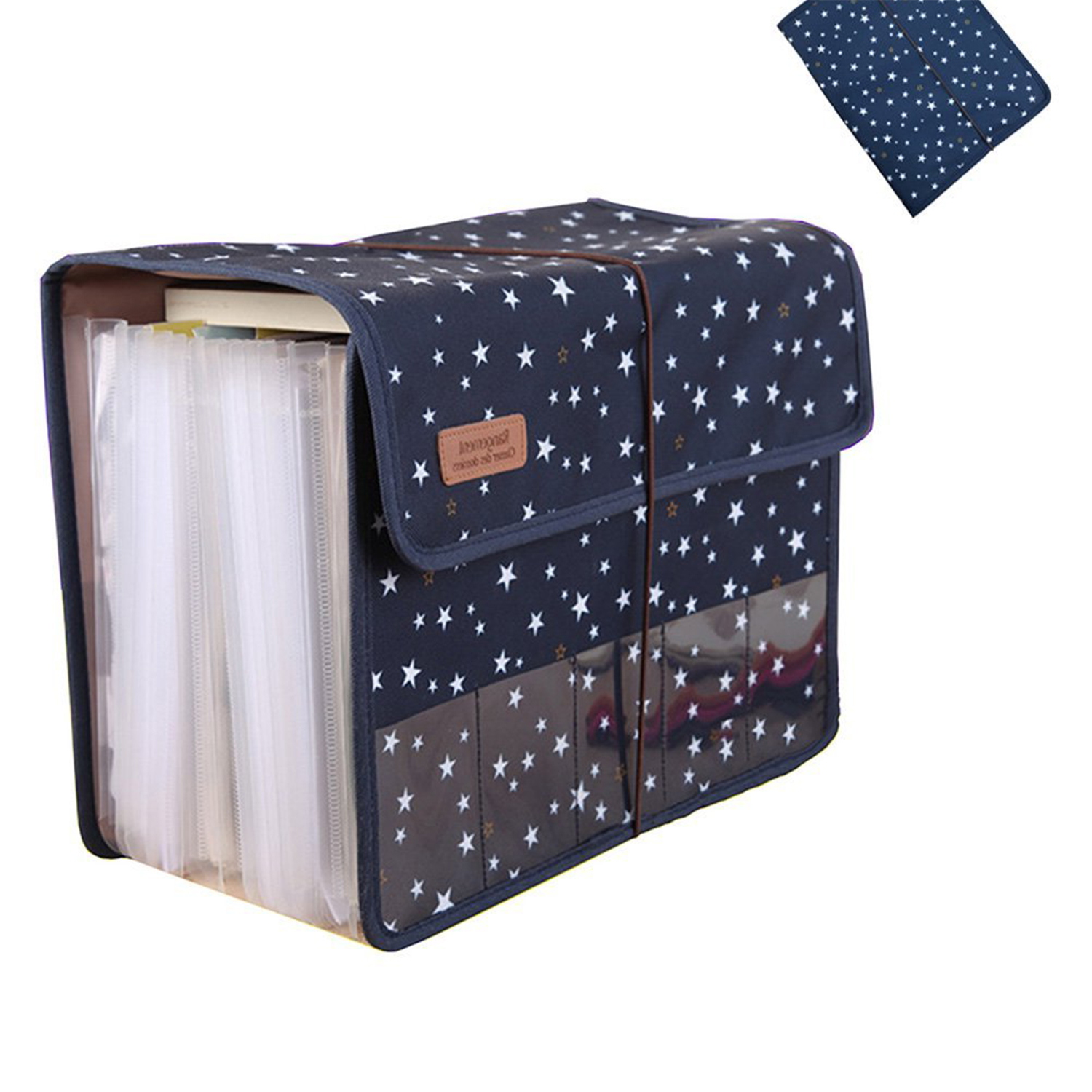 Image 3 - Cute Portable Expandable Accordion 12 Pockets A4 File Folder Oxford Expanding Document Briefcase SCLLFile Folder   -