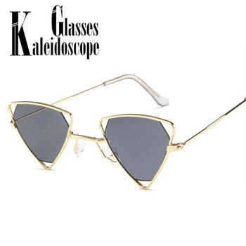 Metalowe modne trójkąt okulary przeciwsłoneczne damskie męskie Vintage marka projektant okulary przeciwsłoneczne damskie Punk okulary okulary damskie UV400 tanie i dobre opinie Kaleidoscope Glasses Kobiety Stop Antyrefleksyjną Dla dorosłych TYJ1079 Poliuretan 45MM 38MM