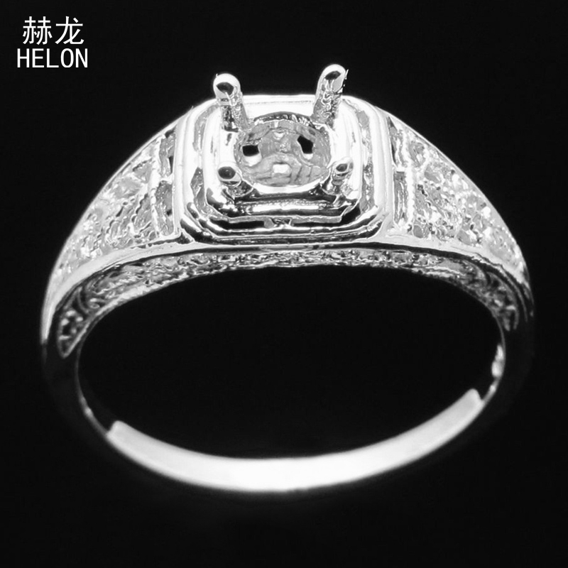 Sterling Silver 925 Plate White Gold Round 9-10mm Semi Mount Fine Ring Setting