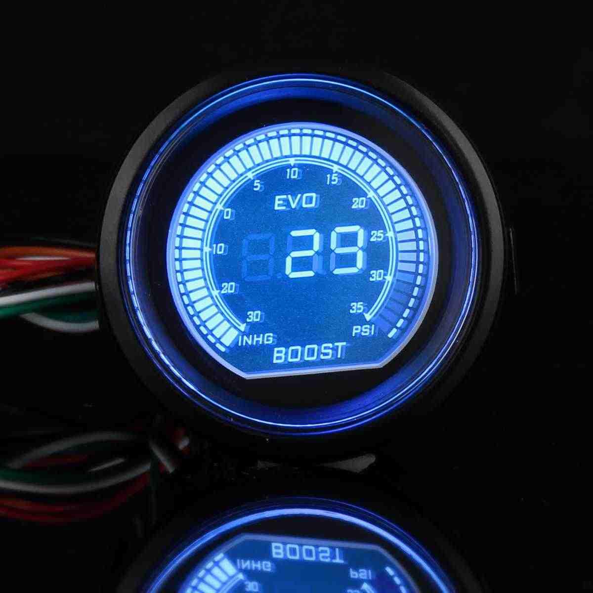 2 ''52 مللي متر العالمي توربو سيارة LED فراغ توربو مقياس الدافع متر الأحمر الأزرق 35PSI