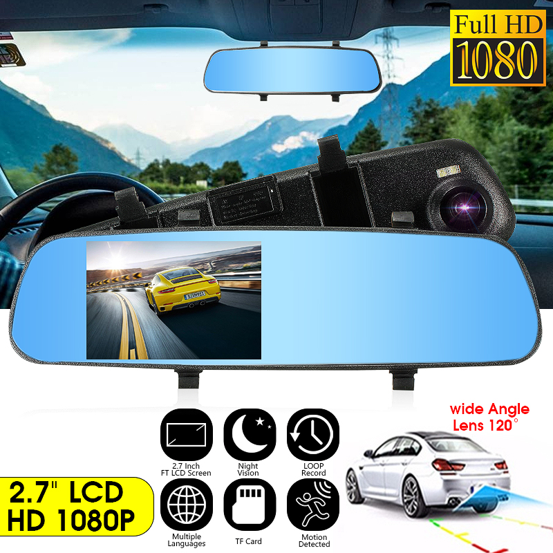 2,7 Inch LCD DVR Auto Kamera Dash Cam Digital Video Recorder Rückspiegel Kamera 5 V 1A Auto Video Spiegel recorder