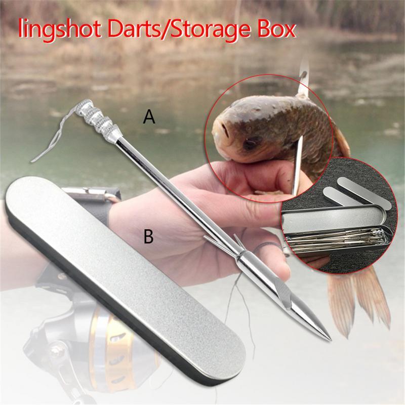 1 Pc Slingshot Arrow Stainless Steel Fishing Slingshot Dart With Storage Box