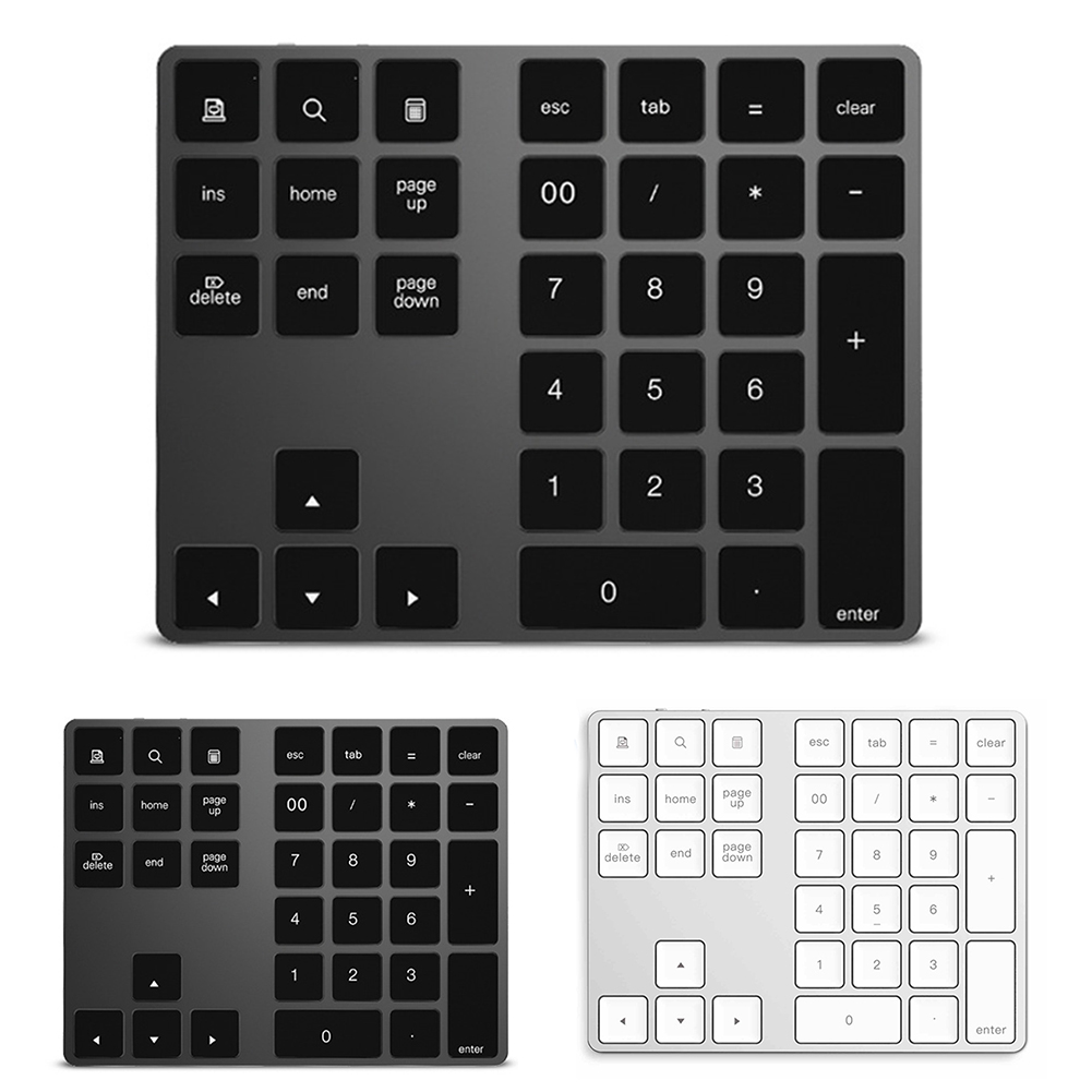 34 Keys Mini Aluminum Alloy Shortcuts Numeric Keyboard Digital Desktop Laptop Wireless Bluetooth PC For Apple Android
