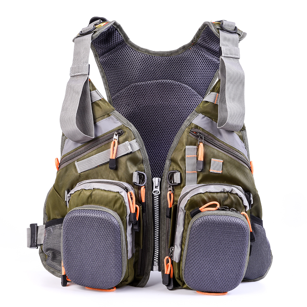 Fishing Vest Breathable Polyester Vest For Fishing Adjustable Straps Multiple Pockets Vest Backpack