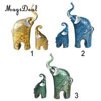2 Pcs/Pair 3D Resin Mother&Child Elephant Statue Animal Figurine Sculpture Garden Home Wedding Decor Gift