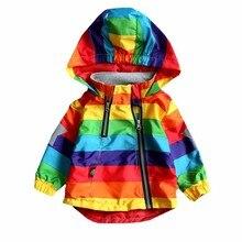 Весенне-Осенняя детская одежда с длинными рукавами для маленьких мальчиков, куртка для маленьких девочек, пальто с капюшоном для мальчиков, Солнцезащитная одежда, куртка в радужную полоску