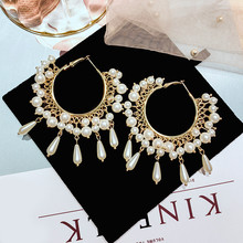 FYUAN Fashion Round Geometric Hoop Earrings for Women 2019 Bijoux Tassel Oversize Simulated Pearl Earring Jewelry Party Gifts недорого