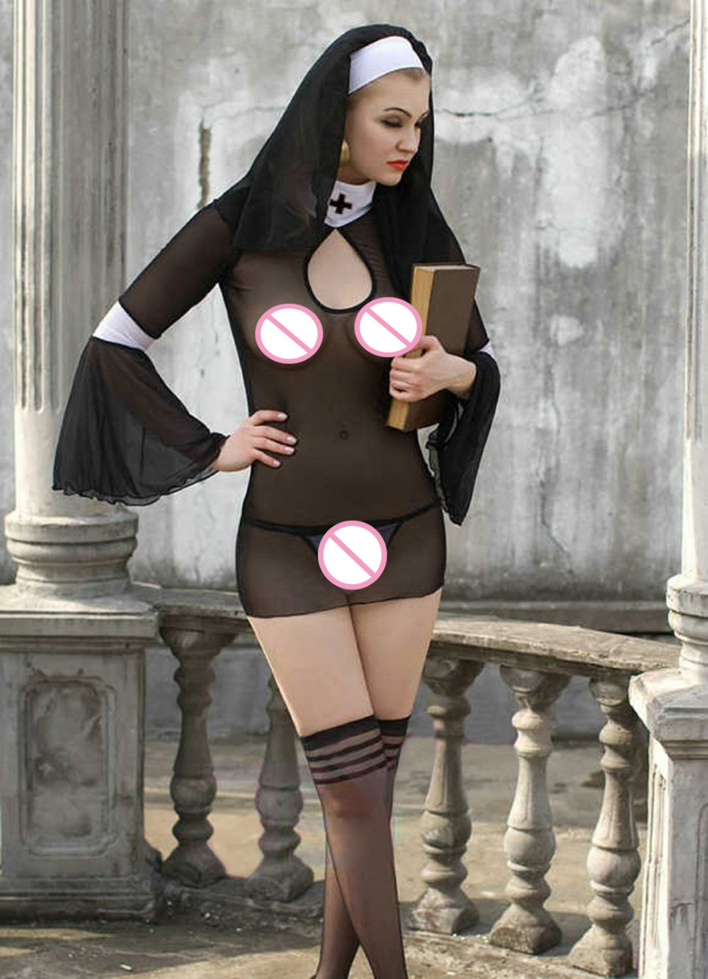 Sexy Women Erotic Underwear Perspective Dress Female Missionary Uniform Temptation Nun Cosplay Costume
