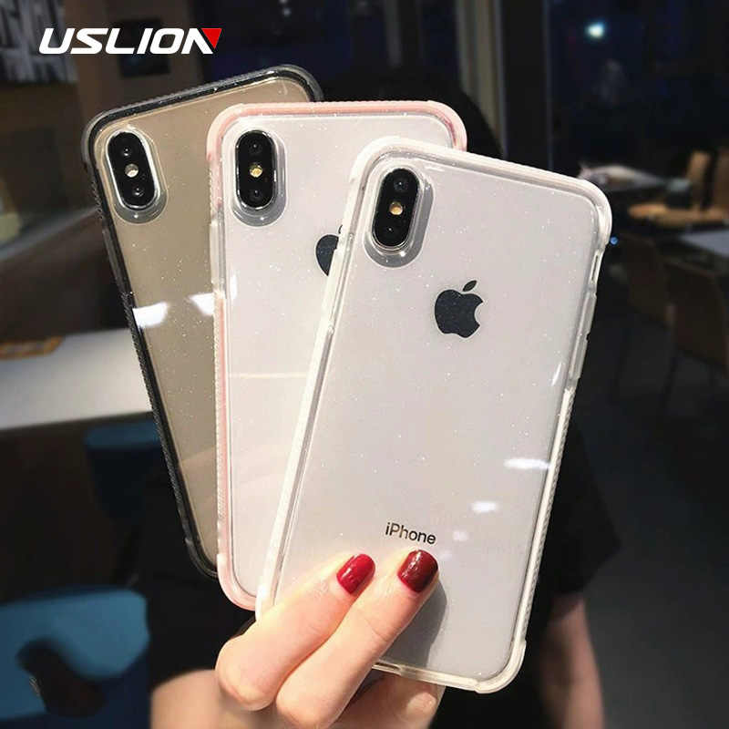 USLION Glitter Powder Phone Case For iPhone 11 Pro XS Max X XR Shockproof Transparent Soft TPU Cover for iPhone 7 6 8 Plus Case
