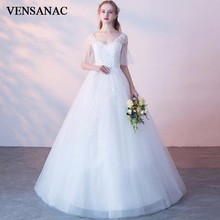VENSANAC 2019 V Neck Ball Gown Lace Appliques Wedding Dresses Illusion Flare Half Sleeve Bow Sash Backless Bridal Gowns