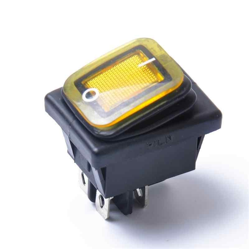 Rocker Schakelaar On-Off-On 4 Pins 12 V DC Auto Boot Automobiles Waterdichte LED Schakelaars (geel Licht)
