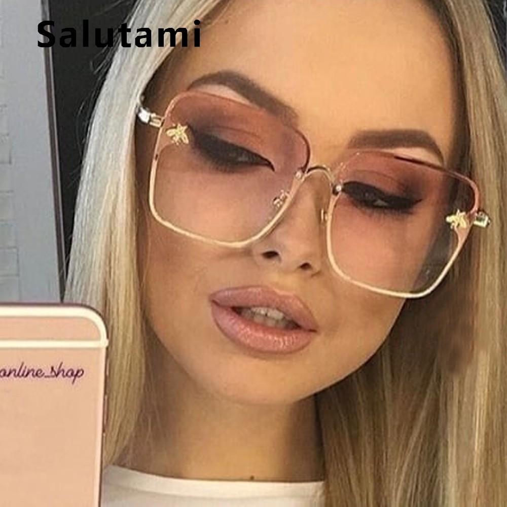 Ретро Квадратные Солнцезащитные очки Украшенные пчелами Для женщин брендовая дизайнерская металлическая рамка негабаритных солнцезащитн...