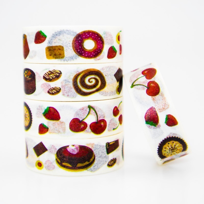 Japanese Delicious Food Washi Masking Tape Sticky Color Decorative Tape Set DIY Decoration Office Stationery Scrapbook 1PCS