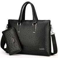 Business Bag Men's Hand Cross Section Fashion Briefcase Men's Ostrich Pu Computer Bag One Shoulder Men's Bag