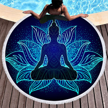 Round Beach Towels With Tassels God Lotus Mandala Towel Bath Chakra Summer Yoga Picnic Mat Blanket Large Microfiber Towel Terry mandala lotus lotus printed long fringe round beach towel