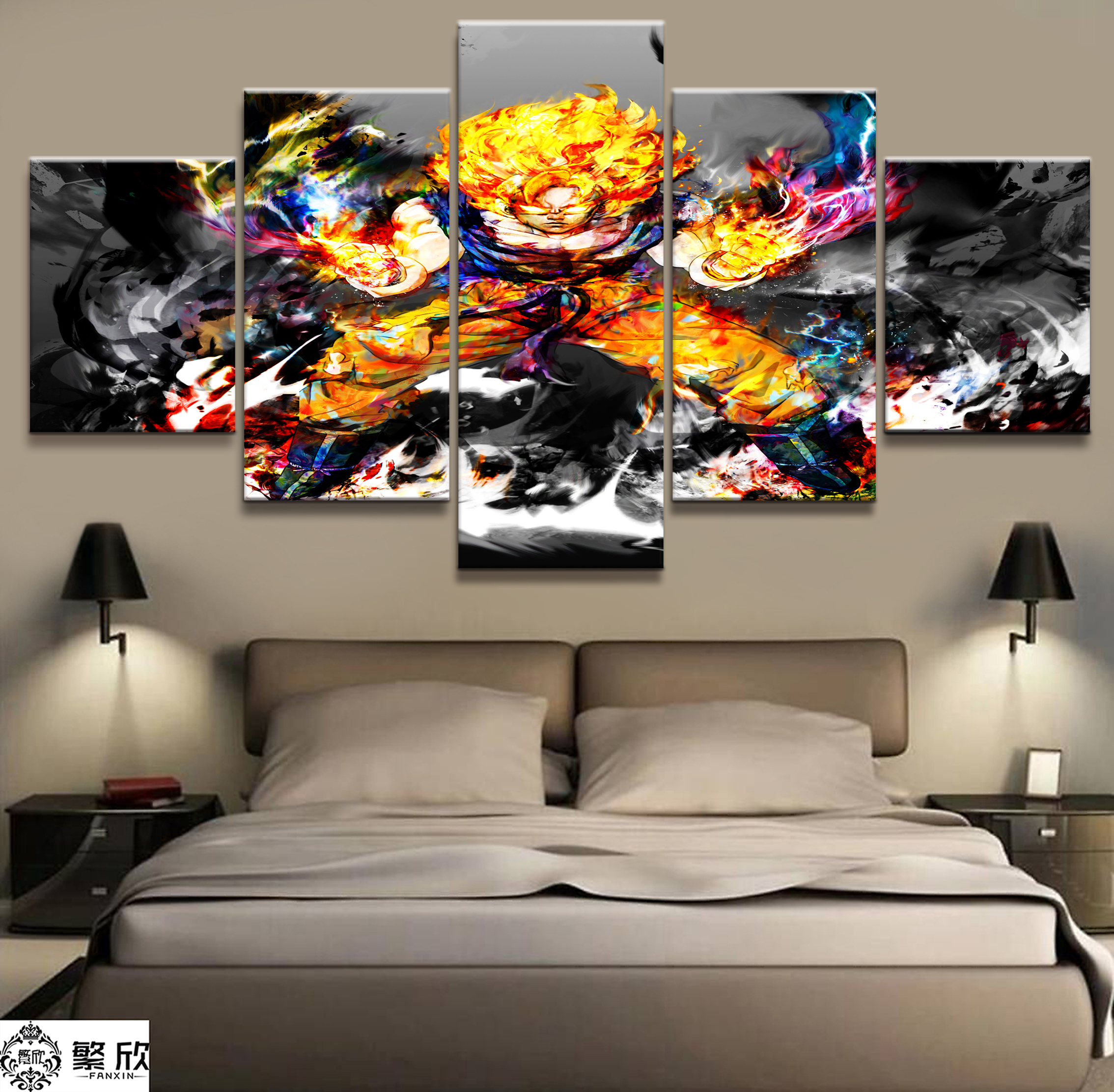 Modern Painting Canvas Basketball Wall Pictures Home Decor: 5 Piece Modern Painting Goku And Vegeta Canvas Printed