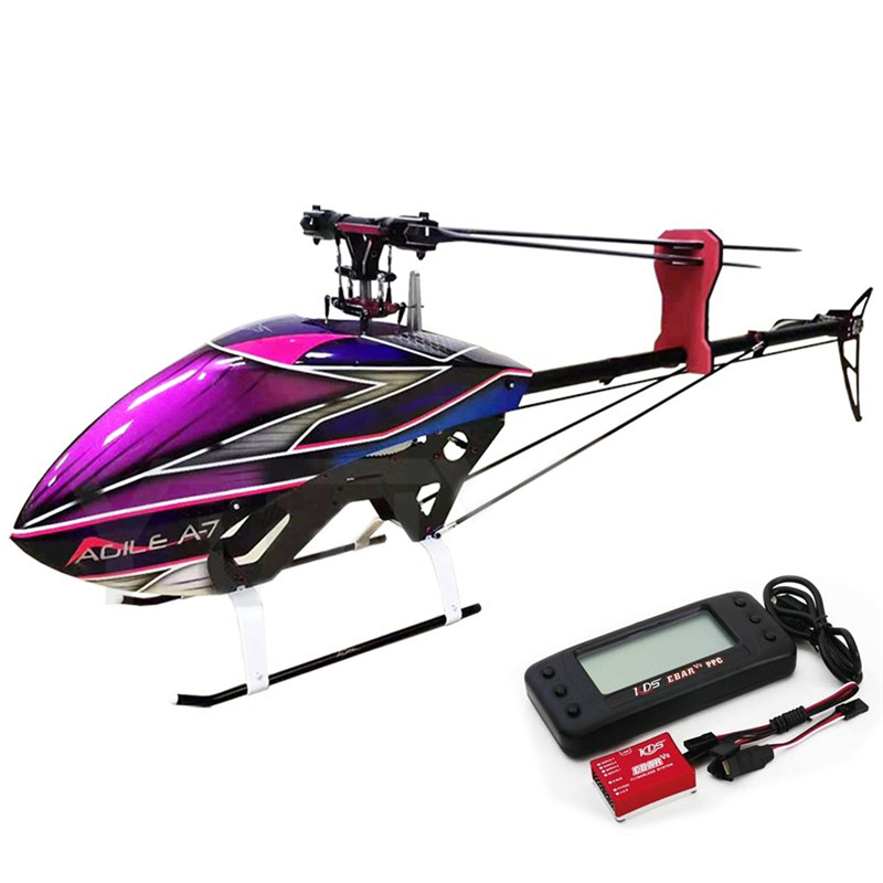 New Arrivals KDS AGILE A7 6CH 1370mm 3D Flybarless 700 Class RC Helicopter Kit & EBAR V2 Gyro Remote Control Toys