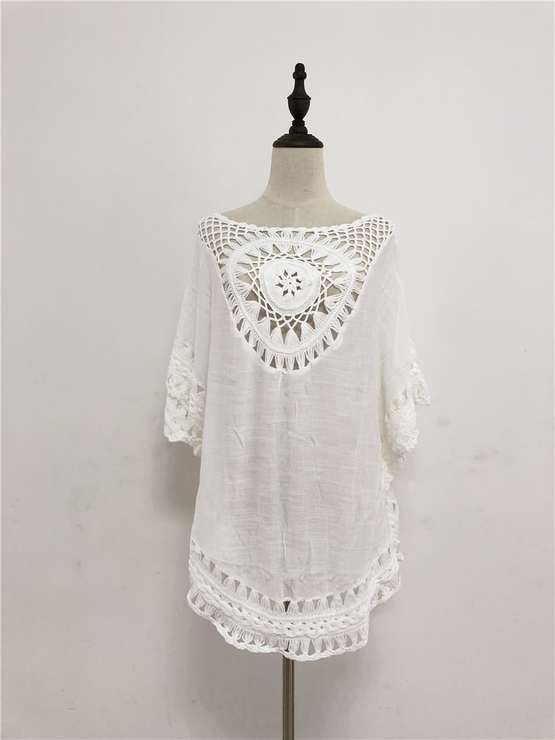 4ef9e8d4bdc 2019 Sexy Hollow Out White Cotton Beach Dress Tunic Plus Size Women Summer  Batwing Sleeve Loose Pool Party Mini Dress pareo Q477-in Dresses from  Women s ...