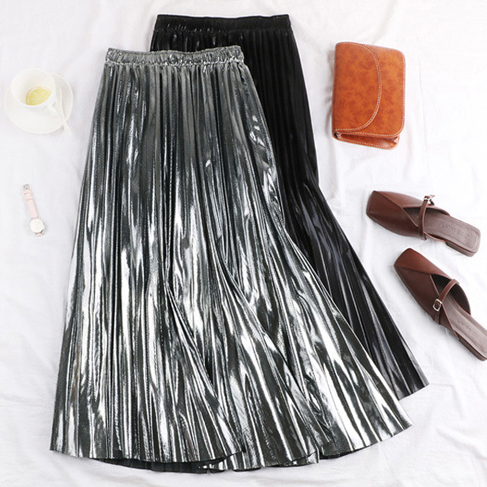 2019 Autumn Women Pleated Skirt Elegant High Waist Women Long Skirt Ladies Silver Gold Metallic Shiny Ankle-Length Maxi Skirt