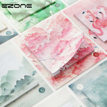 EZONE 1PC Sticky Note Pink Sakura/Green Leaves/Flamingo/Flower Pattern Sticker Note Memo Pad Bookmark Memo Students Stationery simple finger print pattern silicone bookmark deep pink