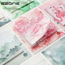 Купить с кэшбэком EZONE 1PC Sticky Note Pink Sakura/Green Leaves/Flamingo/Flower Pattern Sticker Note Memo Pad Bookmark Memo Students Stationery