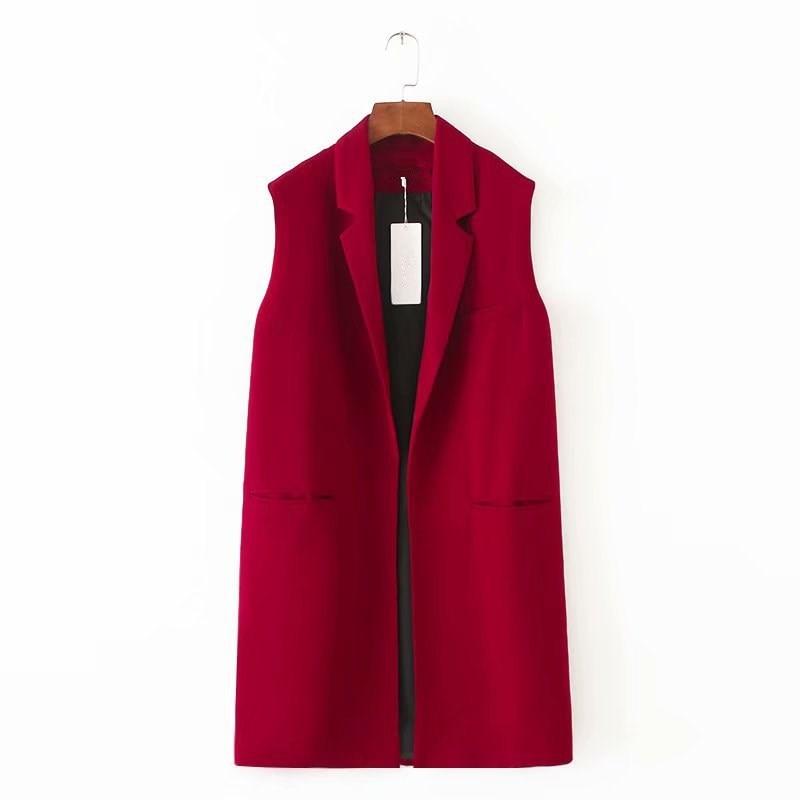 Autumn Sleeveless Blazer Vest 2018 Office Lady Long Vest Waistcoat Women Pocket Red Outwear Jacket in Vests amp Waistcoats from Women 39 s Clothing