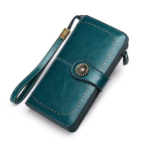 Image 3 - Fashion Women Clutch New Wallet Cow Leather Female Long Wallet Women Zipper Purse Strap Coin Purse For Iphone 7